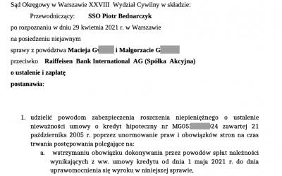 Kolejne zabezpieczenie dla Kredytobiorcy w sporze przeciwko bankowi Raiffeisen Bank International AG